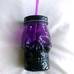 Purple Glass Skull Drinking Jar